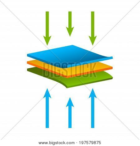 Vector fabric structure material isolated, Airflow layers moisture waterproof concept.