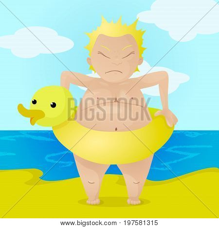 Angry boy with inflatable yellow duck buoy, kid cant take off the buoy because he is fat. Colorful character vector Illustration