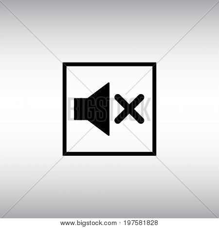 Isolated mute vector icon. Mute in the square button flat sign. Sound off vector pictogram.