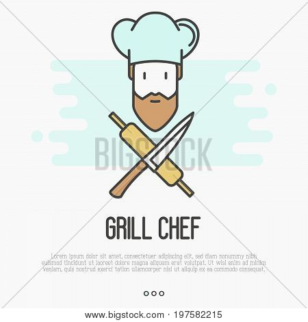 Logo with bearded chef in hat with knife and rolling pin for restaurant or cafe. Thin line vector illustration.