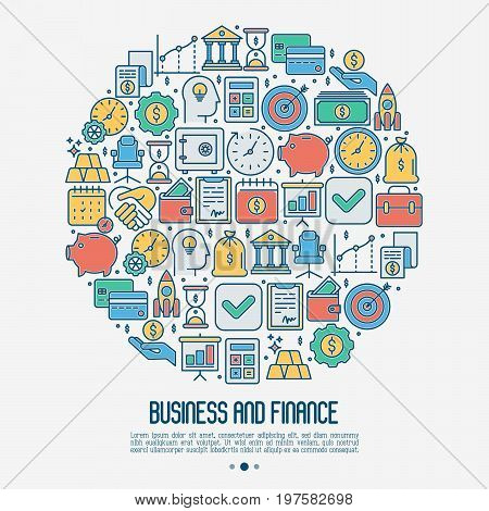 Business and finance concept in circle with thin line icons related to financial strategy, planning, human thinking and start up. Vector illustration for banner, web page, print media.
