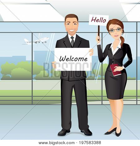 Group of people meet someone in airport hall / A woman and a man greet someone with broadsheets. Flat design, vector cartoon illustration