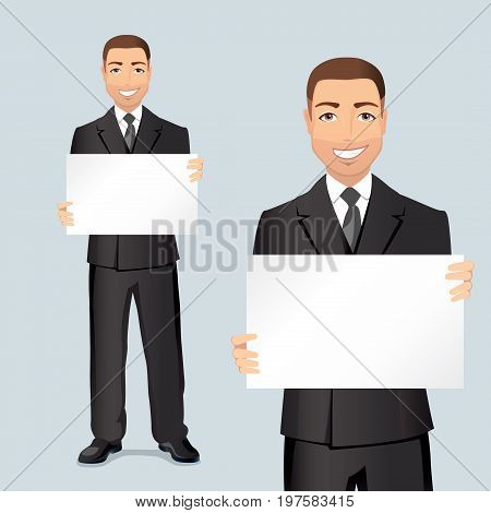 Happy businessman showing and displaying placard with space for your text or product. Flat design, vector illustration.