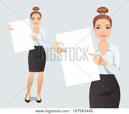 Cute young woman shows and displays a poster with space for your text or product. Flat design, vector illustration.