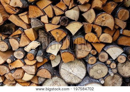 Sawn And Chopped Wood In A Stacked In Stack