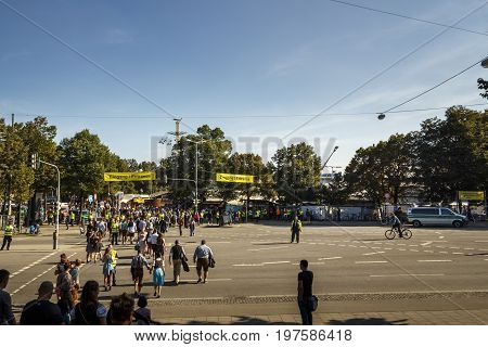 Munich Germany - September 24 2016: Area in front of the main entrance of the Theresienwiese to the Oktoberfest in Munich with increased security controls