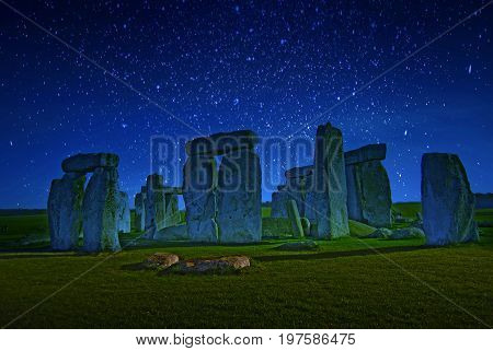 Starry Night Stonehenge - one of the wonders of the world and the best-known prehistoric monument in Europe