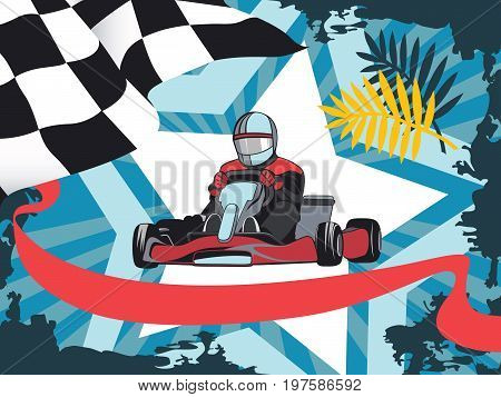 Karting, Competition, Championship, Winner. Layout on a sports theme, Kart, Racer. Flat design, vector illustration.