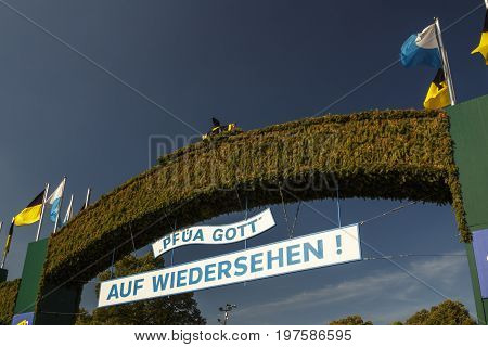 Munich Germany - September 24 2016: Exit gate from the Oktoberfest on the Theresienwiese in Munich