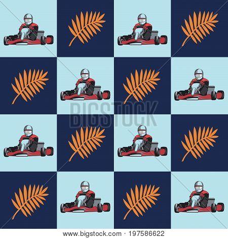 Karting. Kart with racer and star on the blue background. Pattern Flat design, vector illustration