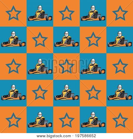 Karting. Kart with racer and stars on the colored background. Pattern. Flat design, vector illustration