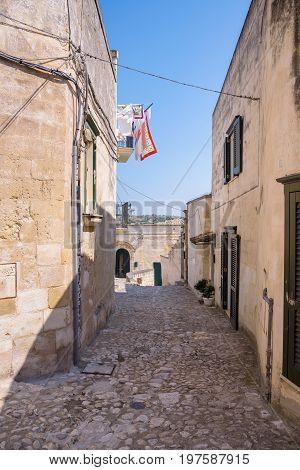 Narrow streetin the Sassi of Matera Basilicata Italy