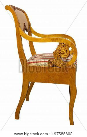 Antique Biedermeier style chair isolated on white with authentic fabric and wood carving