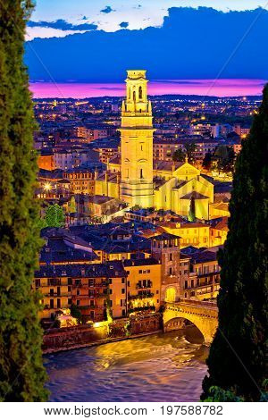 Verona Towers And Rooftops Evening Vertical View