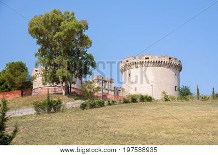 View of the tower of the Tramontano Castle in Matera Basilicata Italy