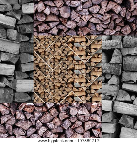 Collage of firewood with geometric pattern