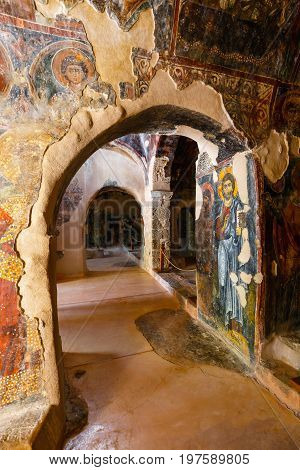 Crete, Greece, June 12, 2017: Interior Of The Three-aisled Byzantine Church Panagia Kera In The Vill