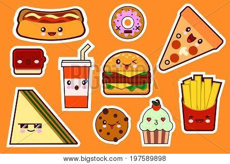 Fastfood fashion, cartoon kawaii stickers illustrations icon set. gamburger, pizza, sandwich, cake. Flat design Vector