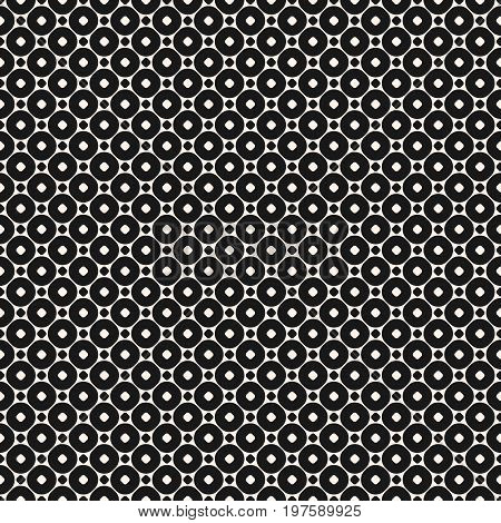 Vector seamless pattern with small circles and rings. Simple modern abstract background. Funky monochrome geometric texture. Stylish dark design for prints, decoration, fabric, cloth, covers, linens. Circles pattern, rings pattern.