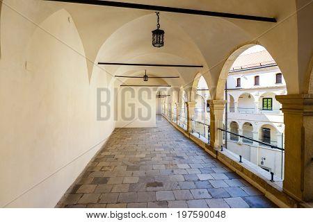 Pieskowa Skala, Poland, May 14, 2017: Courtyard In Castle Pieskowa Skala Near Krakow, Poland