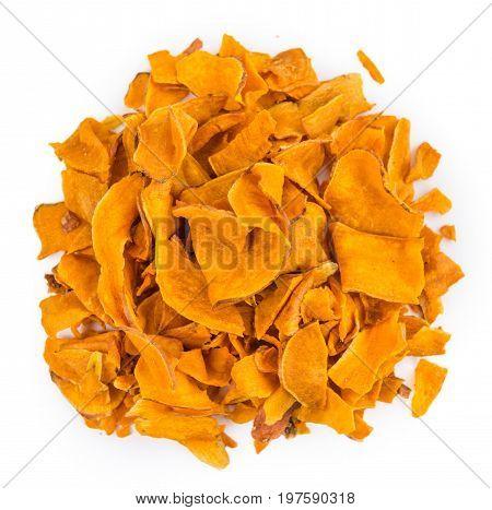 Fresh Made Sweet Potato Chips Over White