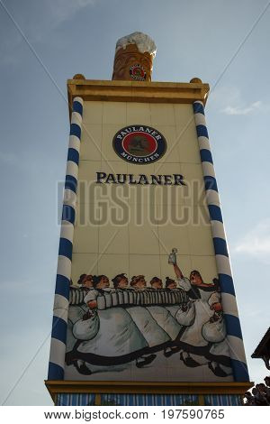 Munich, Germany - September 24, 2016: Roof of the Paulaner tower with the famous beer stein