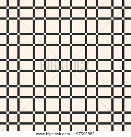 Seamless pattern. Abstract geometric texture with vertical and horizontal interlacing, thin lines. Lattice pattern. Square grid, repeat tiles. Mesh pattern. Monochrome checkered background. Design for decor, textile. Geometric pattern.