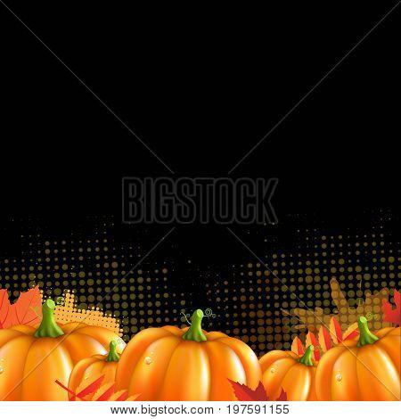 Orange Autumn Leafs And Pumpkins Frame