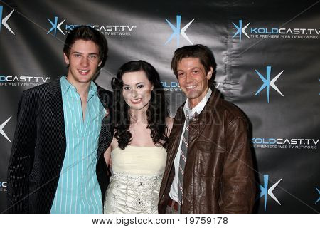 """LOS ANGELES - DEC 14:  Michael Christopher Bolten, Jillian Clare, James Rustin attend the """"Miss Behave"""" Season Two Premiere Party at Flappers Comedy Club on December 14, 2010 in Burbank, CA."""