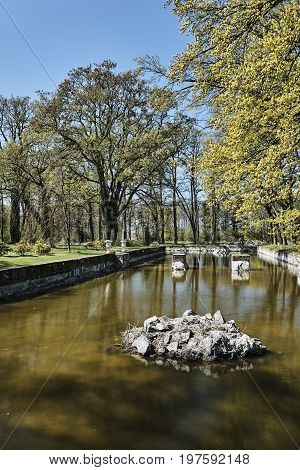 Moat and park around the castle on the island of Usedom in Germany