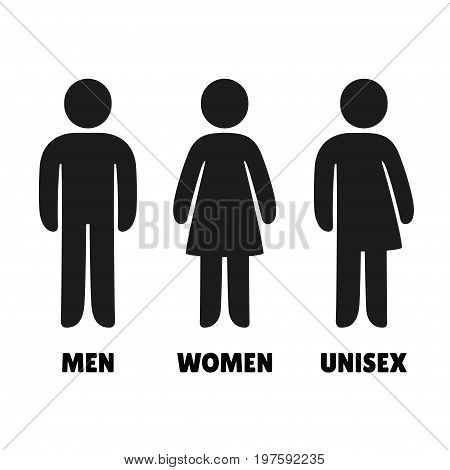 Man Woman an Unisex vector icons. Male female and mixed bathroom signs simple and modern rounded human figures.