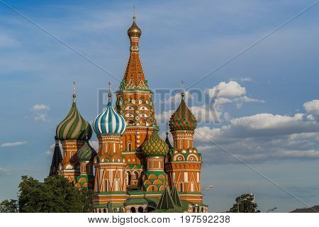 Moscow Russia 30 june 2017: Pokrovsky Cathedral. Red Square in Moscow at sunset