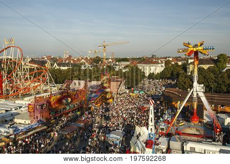 Munich, Germany - September 24, 2016: Aerial view on the Oktoberfest on Theresienwiese in Munich
