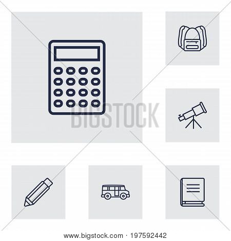 Collection Of Encyclopedia, Bus, Calculator And Other Elements.  Set Of 6 Education Outline Icons Set.