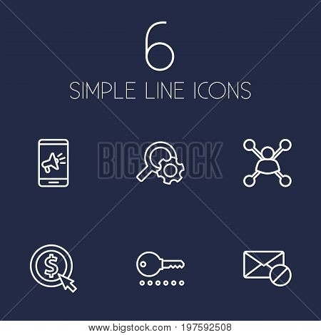 Collection Of Block, Stock Exchange, Mobile And Other Elements.  Set Of 6 Search Outline Icons Set.
