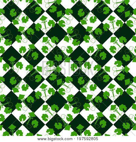 Seamless square green ornament vector background pattern