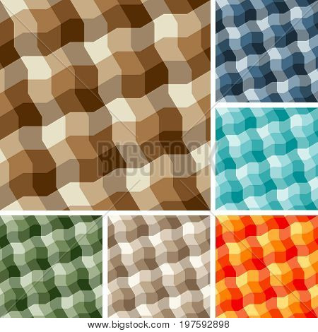 Collection of square seamless plaid background patterns