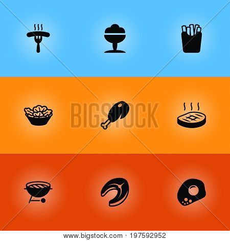 Collection Of Fried Poultry, Sorbet, Frankfurter And Other Elements.  Set Of 9 Food Icons Set.