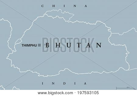 Bhutan political map with capital Thimphu and borders. English labeling. Landlocked kingdom in South Asia in the Eastern Himalayas, bordered by China and India. Gray illustration. Vector.