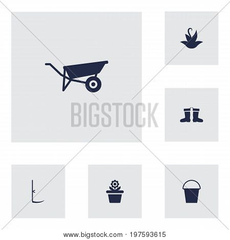 Collection Of Rubber Boots, Wheelbarrow, Cutter And Other Elements.  Set Of 6 Farm Icons Set.