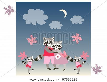 Baby shower invitation. Parents and twins - children. Vector illustration. Cute funny raccoons.