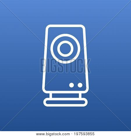 Vector Speaker Element In Trendy Style.  Isolated Amplifier Outline Symbol On Clean Background.