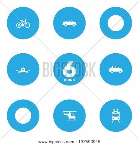 Collection Of Coupe, Bicycle, Side View And Other Elements.  Set Of 6 Traffic Icons Set.