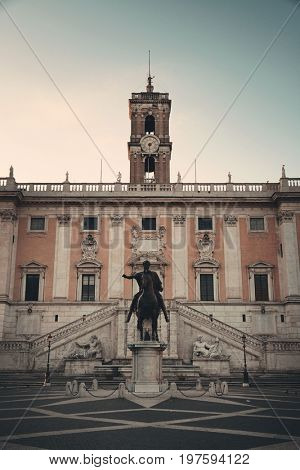 Piazza del Campidoglio with statue of Marcus Aurelius in Rome, Italy.