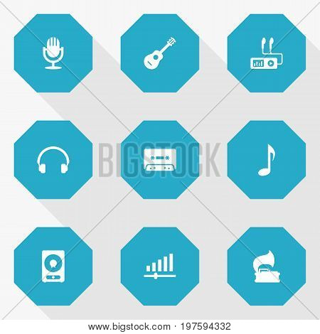 Collection Of Amplifier, Tone Symbol, Tape And Other Elements.  Set Of 9 Melody Icons Set.