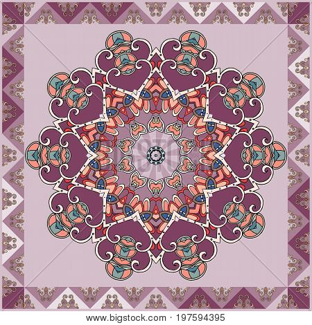 Beautiful napkin or square carpet with purple flower mandala and ornamental frame.