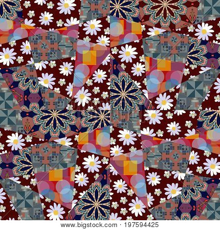 Patchwork pattern with flowers and abstract patterns. Vector illustration of quilt design. Blanket, wrapping, cushion.
