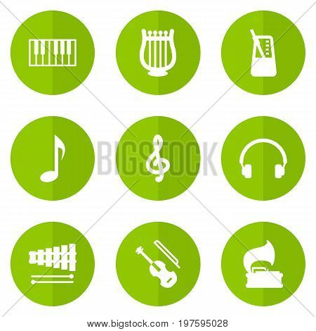 Collection Of Lyre, Percussion, Octave Keyboard And Other Elements.  Set Of 9 Song Icons Set.