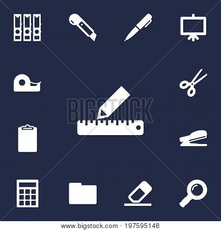 Collection Of Folder, Puncher, Clippers And Other Elements.  Set Of 13 Tools Icons Set.