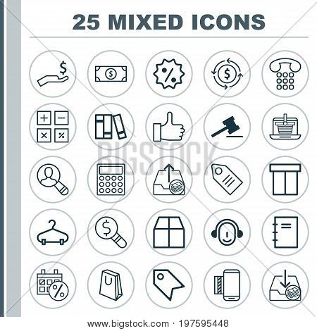 Commerce Icons Set. Collection Of Gavel, Peg, Outgoing Earnings And Other Elements